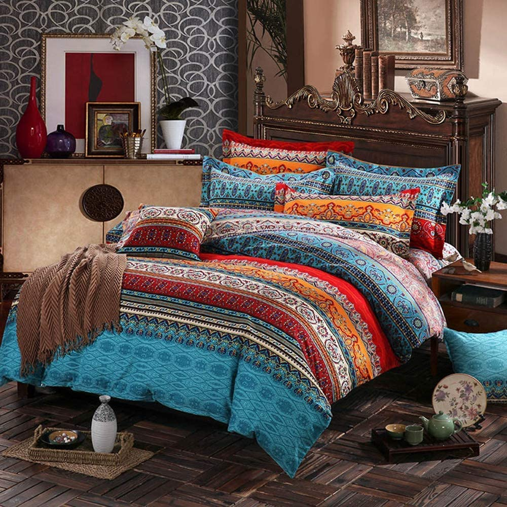 CoutureBridal Retro King Size Boho Ethnic Bedding Sets Reversible Striped Bohemian Duvet Cover Set Lightweight Microfiber Red Orange Floral Printed Comforter Covers