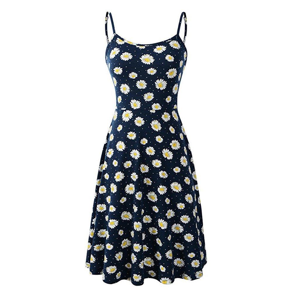 Serzul Summer Sleeveless Adjustable Strappy Long Boho Beach Dress Floral Flared Swing Sundrss for Ladies/Girls Blue by Serzul Women Dress