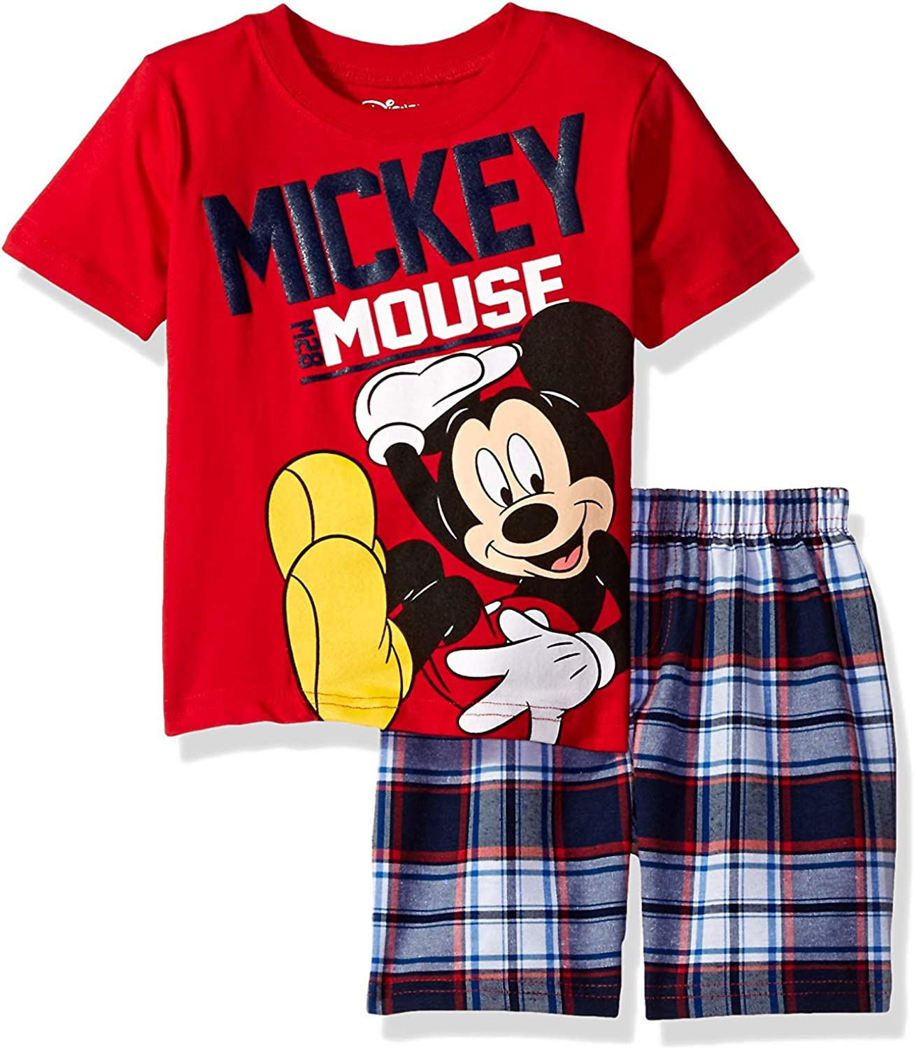 Disney Boys Mickey Mouse Plaid Short Set with T-Shirt