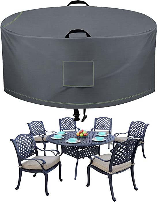 TAOCOCO Outdoor Patio Furniture Covers, 600D Waterproof Table Chair Set Covers, Round Table Dining Set, Heavy Duty Durable 72
