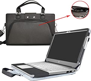 "HP Chromebook 14 Case,2 in 1 Accurately Designed Protective PU Leather Cover + Portable Carrying Bag for 14"" HP Chromebook 14 14-ak000 14-x000 Series/Chromebook 14 G4 Laptop,Black"