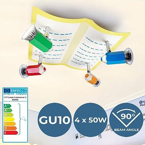 Lámpara Infantil de Techo - CEE: A++ a E, GU10, con Lápices, 4 flama, 30x29x13 cm, Moderna - Luz de Techo, Plafón, Iluminación - para Habitación ...