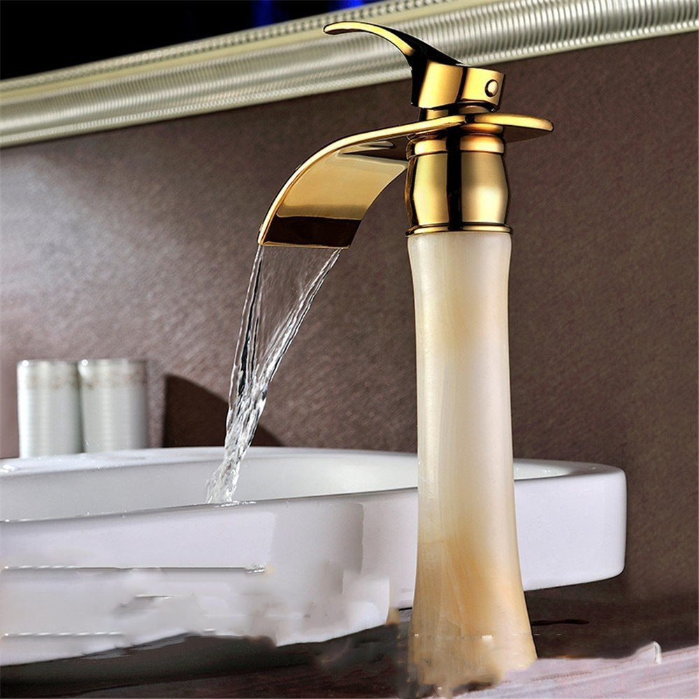 C Section - Jade (High) Bathroom Cabinet Faucet Copper hot and Cold Water Waterfall Basin gold-Plated Jade washbasin washbasin Faucet, B-gold (Short)