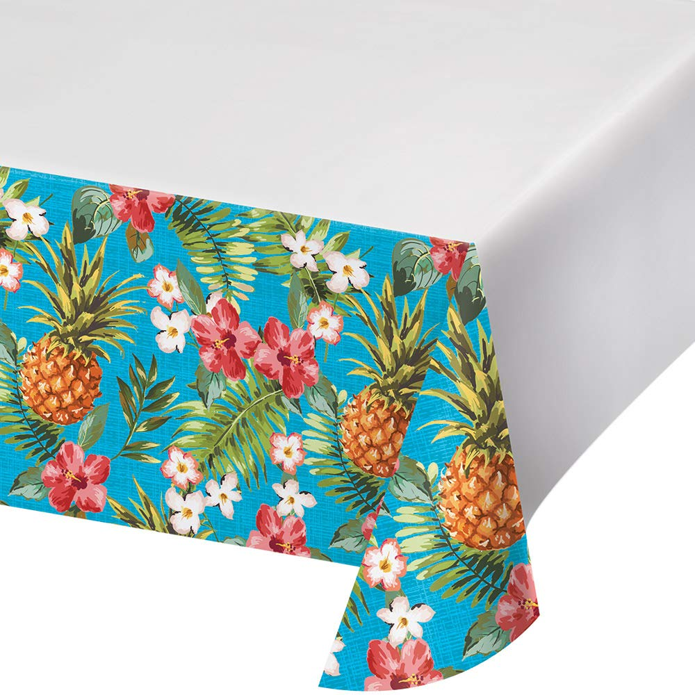 Club Pack of 12 Blue and Green Aloha Plastic Party Table Covers 102''