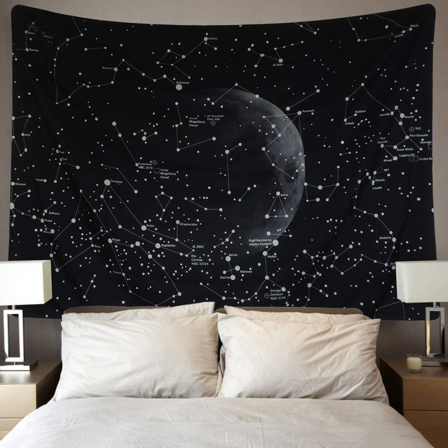 Dremisland Moon Tapestry Indian Hippie Bohemian Mandala Wall Hanging Tapestry Black for Nature Home Decorations Living Room Bedroom Dorm Decor (Constellations Map, M / 130 X 150 cm(51' X 59')) M / 130 X 150 cm(51 X 59))