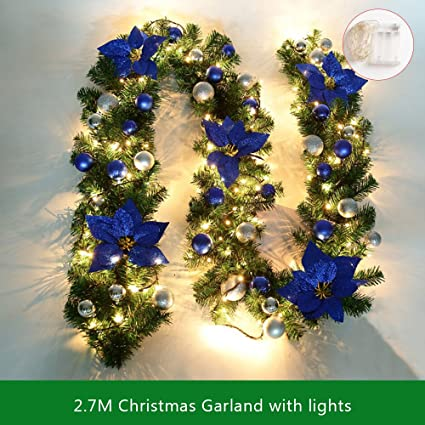 Kakukasell 9ft Christmas Garland Lights Battery Operated Christmas Garland Balls Xmas Door Decoration Xmas Green Garland Blue Lights 1 Pack
