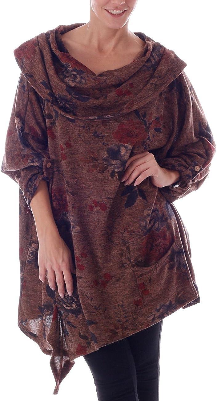 34-38 Long Shirt mit stylischem Print und Applikationen Einheitsgroesse
