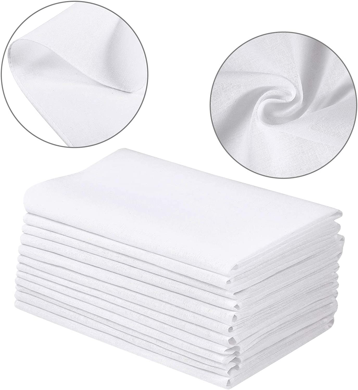 100 Pieces White Handkerchiefs Cotton Classic Hankies Pocket Square Towel Small Size for Kids Girl Boy Tea Parties