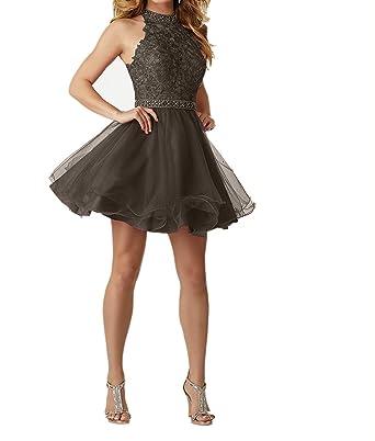 8791b8f2d21 Charmant Damen Navy Blau Abendkleider Kurz Festliche Kleider Damen  Ballkleid Jugendweihe Kleider mit Spitze  Amazon.de  Bekleidung