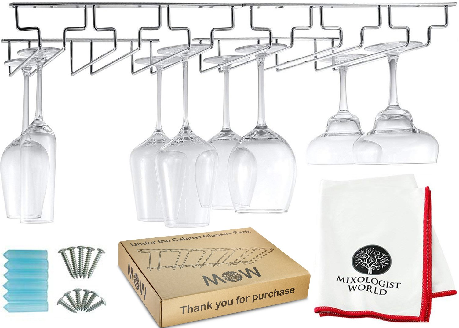 Wine Glass Rack Kit- Under Cabinet Stemware Holder Organizer More than for 18 Glass with Installation Hardware and Drying Bar Towel - Hanging Kitchen Storage Shelf Mounted (Chrome Glass Rack)