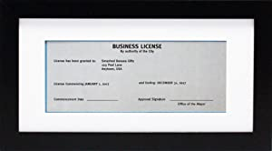 5x10 Black Gallery Business License Frame with 3.5x8 Mat - Wide Molding - Includes Attached Hanging Hardware and Desktop Easel - Display Panoramic Picture Certificate or Retail Licenses