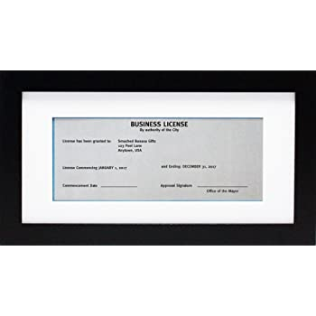 Amazon.com - 5x10 Black Gallery Business License Frame with 3.5x8 ...