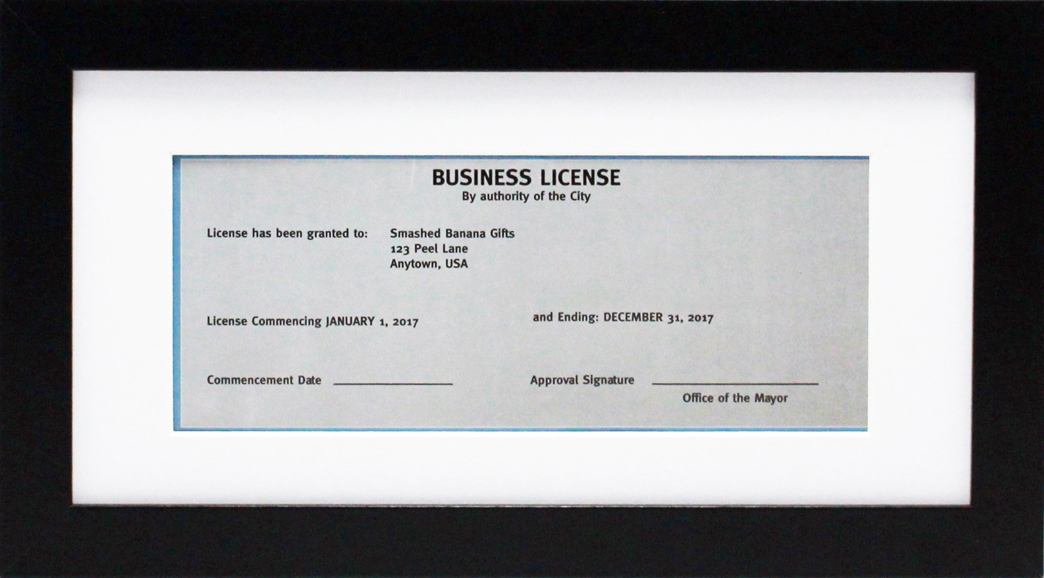 5x10 Black Gallery Business License Frame with 3.5x8 Mat - Wide Molding - Includes Attached Hanging Hardware and Desktop Easel - Display Panoramic Picture or Retail Licenses (5x10) by Smashed Banana