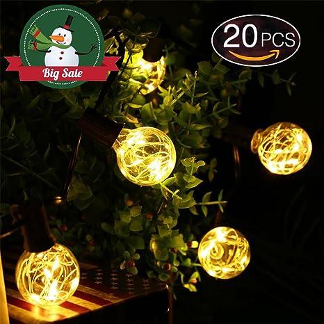 Liqoo 6M Cadena de Luces Exterior Solar 20 Bombillas LED Guirnalda de luces Luces decorativas Blanco