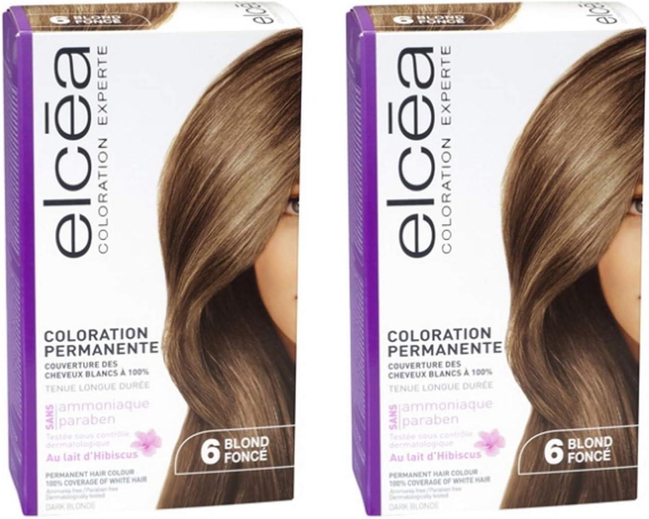 Tinte permanente para cabello Elcea 6 rubio oscuro, lote de 2 ...