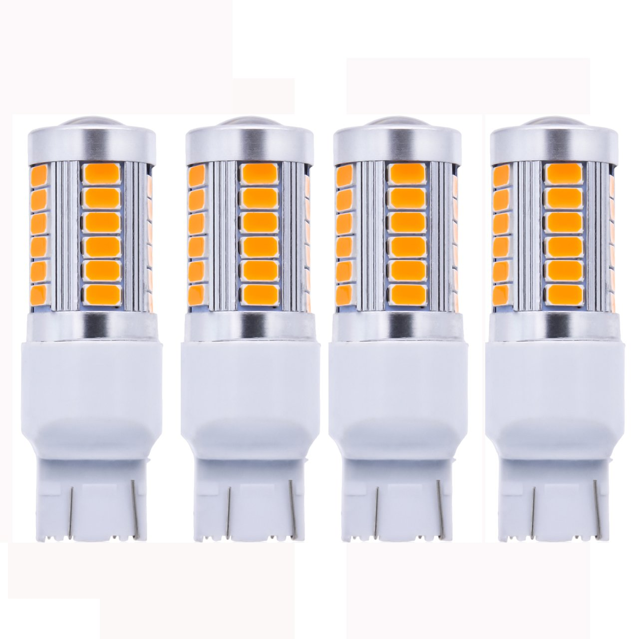 KATUR 10 x Amber 7443 1210 54-SMD 800 Lumens LED Turn Signal Light Bulb 12V Replacement for Car Incandescence Bulb Interior RV Camper Bulb Tail Brake Stop Parking Lights 5W