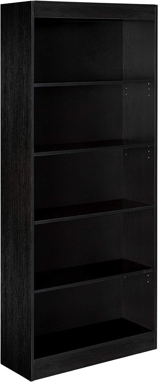 OneSpace Essentials 5-Tier Book Shelf Bookshelf, Black