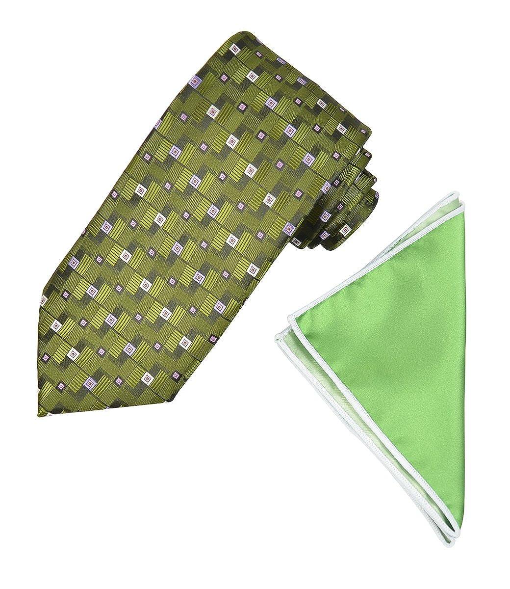 Vineyard Green Mens Tie and Contrast Pocket Square Set