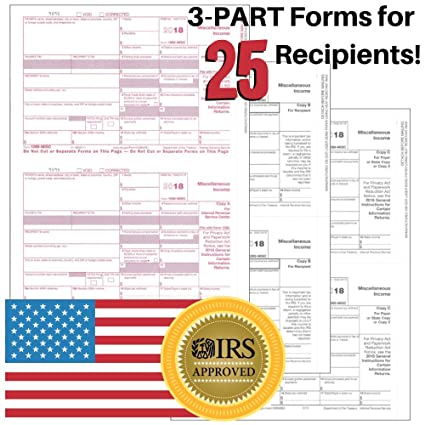 Amazoncom 1099 Misc Tax Forms For 2018 Returns 3 Part Kit 25