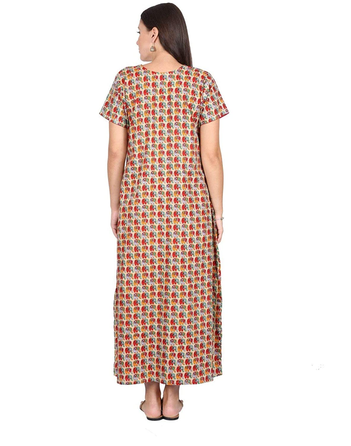4a7a4a4ea9 Nighty House Womens Full Length Slim Fit Kalamkari 100% Cotton Nightgown   Amazon.in  Clothing   Accessories