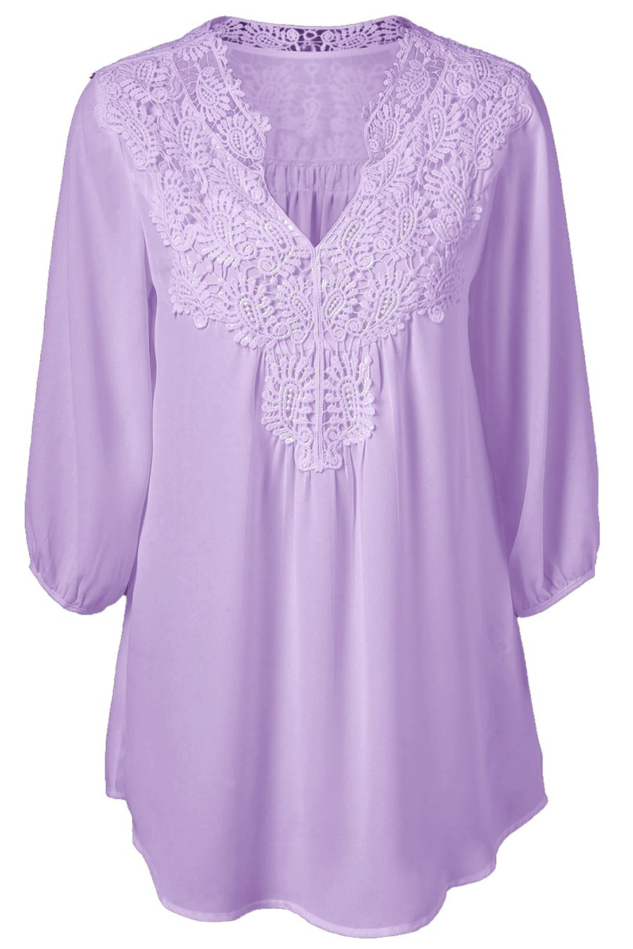 OMZIN Womens Business Career Shirts Chic Fit Tunic Tops Light Purple M