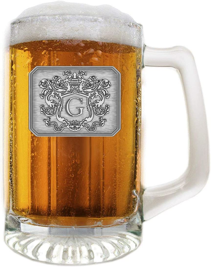 Glass Beer Mug Stein Hand Crafted Monogram Initial Pewter Engraved Large Crest with Letter G by Fine Occasion (G, 25 oz)