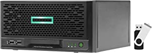 HP ProLiant MicroServer Gen10 Plus Tower Server Bundle with 16GB USB Drive, Intel Xeon E-2224 3.4GHz, 8GB DDR4, RAID, No Drives