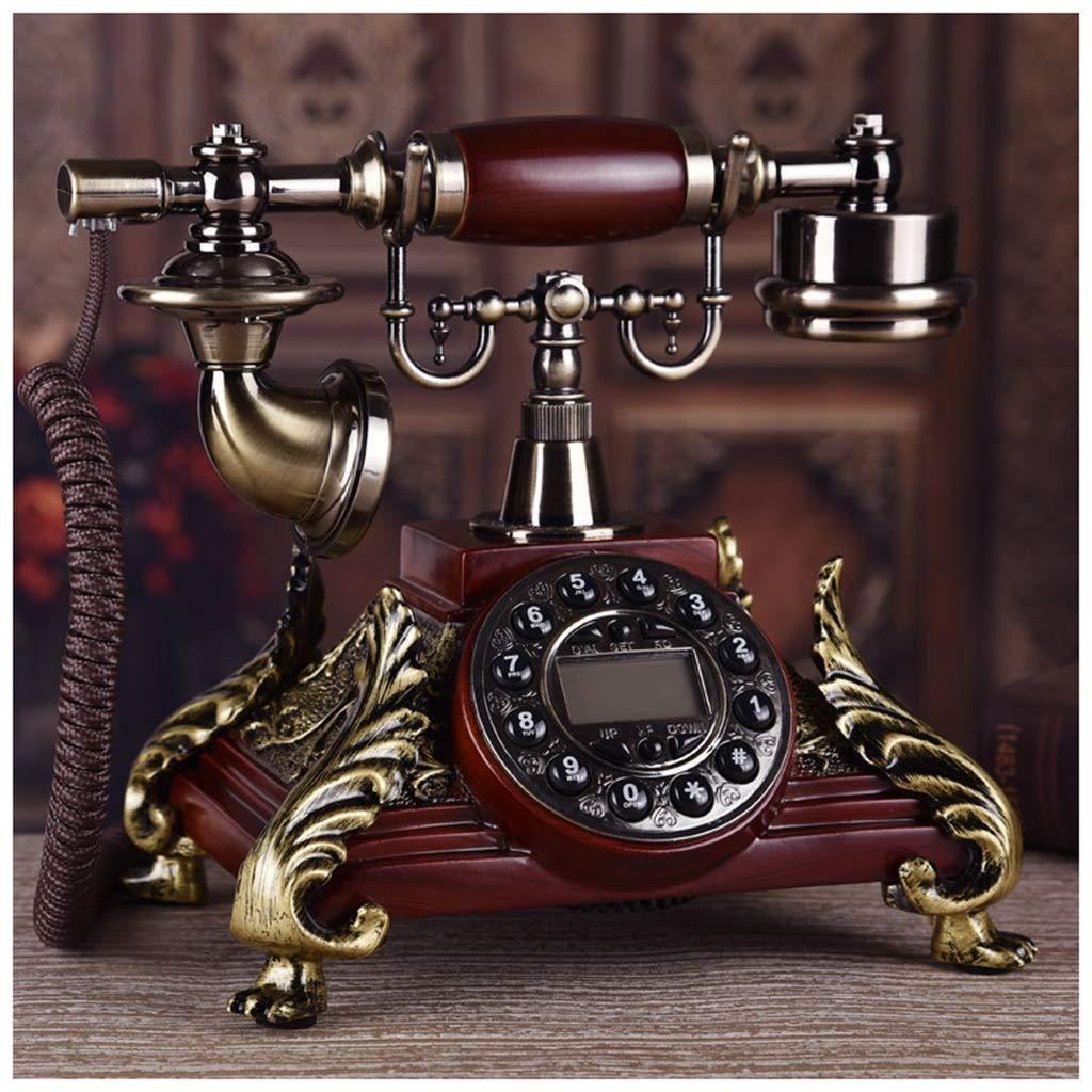 レトロ電話 ヨーロッパのマホガニーシングルベルダブルベル電話ハンズフリー発信者IDオフィス自宅電話ファッションクリエイティブ固定ワイヤレス固定電話布ロープ アンティーク電話機 (サイズ さいず : B) B07QQQ9GCB  B