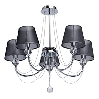 Mw Light 684010305 Lustre Plafonnier Moderne à 5 Lampes En Métal Couleur Chrome Abat Jours En Organza Noir Décoré De Cristal Pour Salon Chambre à