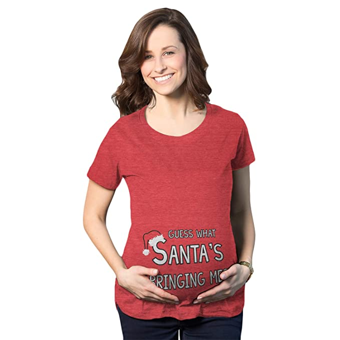 maternity guess what santas bringing holiday funny christmas pregnancy t shirt heather red s - Maternity Christmas