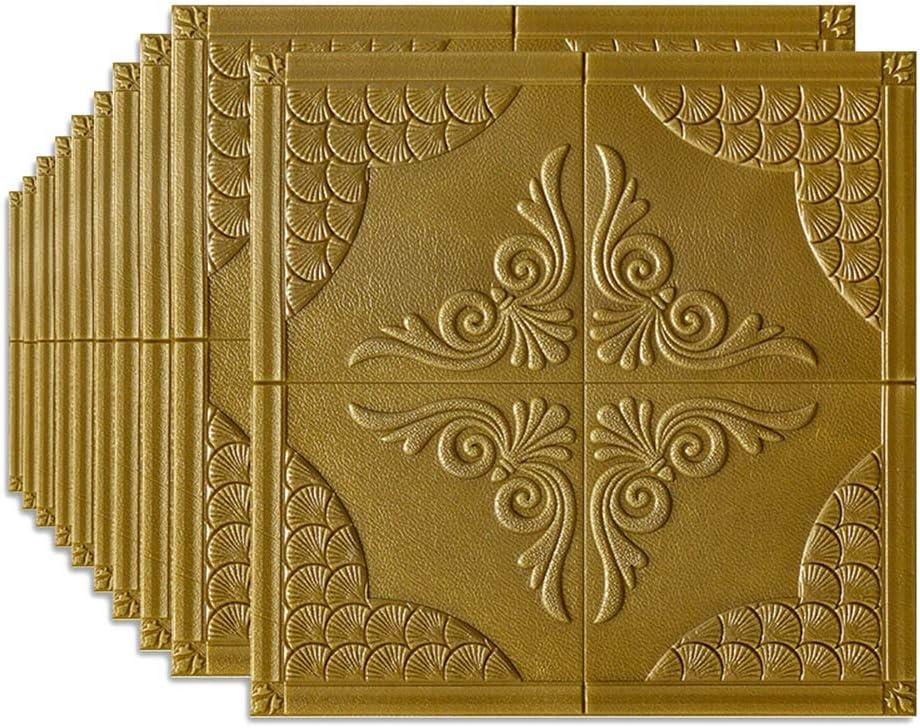 10PCS 3D Tile Carved Wall Sticker Self-adhesive Foam Panel Wallpaper Waterproof