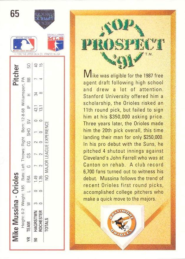Amazon.com: 1991 Upper Deck Baseball #65 Mike Mussina Rookie ...