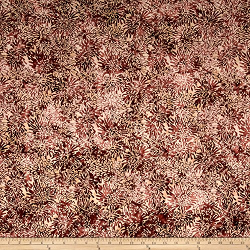 Northcott Banyan Batiks Shattered Garden Packed Mums White/Burgandy Fabric by The Yard
