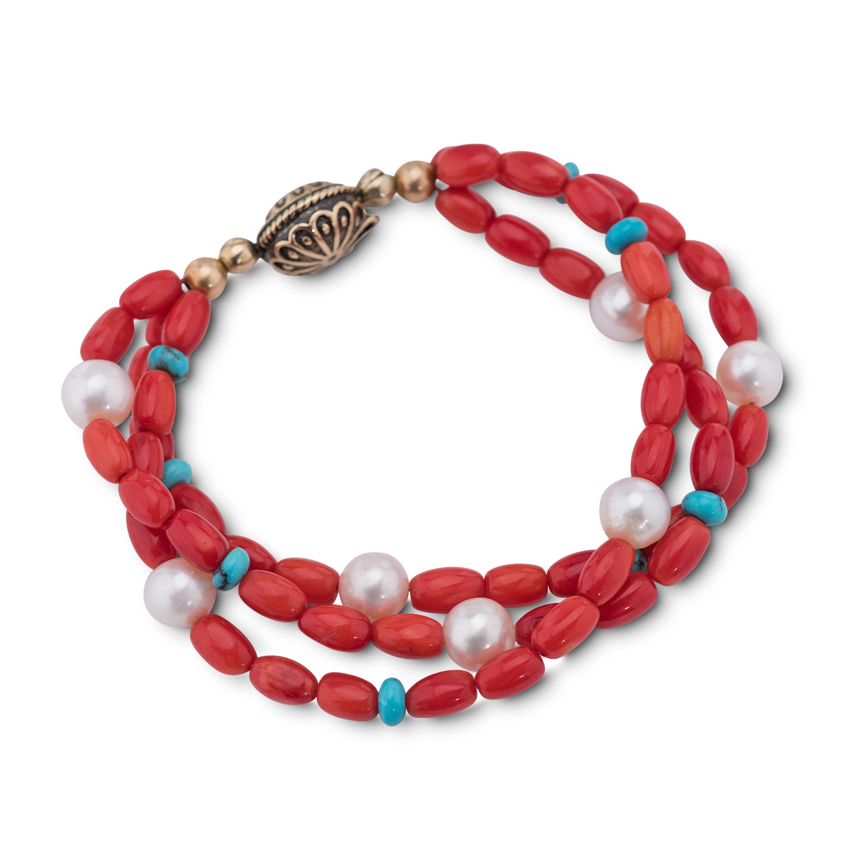 American West Red Coral Turquoise Freshwater Cultured Pearl Magnetic Beaded Bracelet by American West