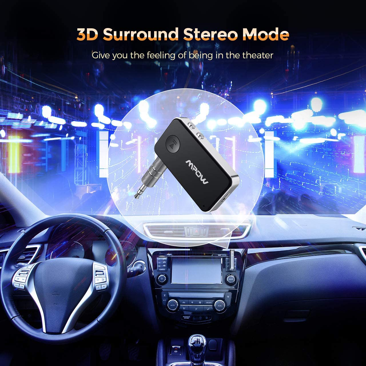 Hi-Fi Music CVC 8.0 Noise Cancellation Mpow Bluetooth 5.0 Receiver 3.5mm Aux Bluetooth Audio Adapter with 3D Surround Stereo Mode for Car//Home Audio System Built-in Mic Dual Pairing