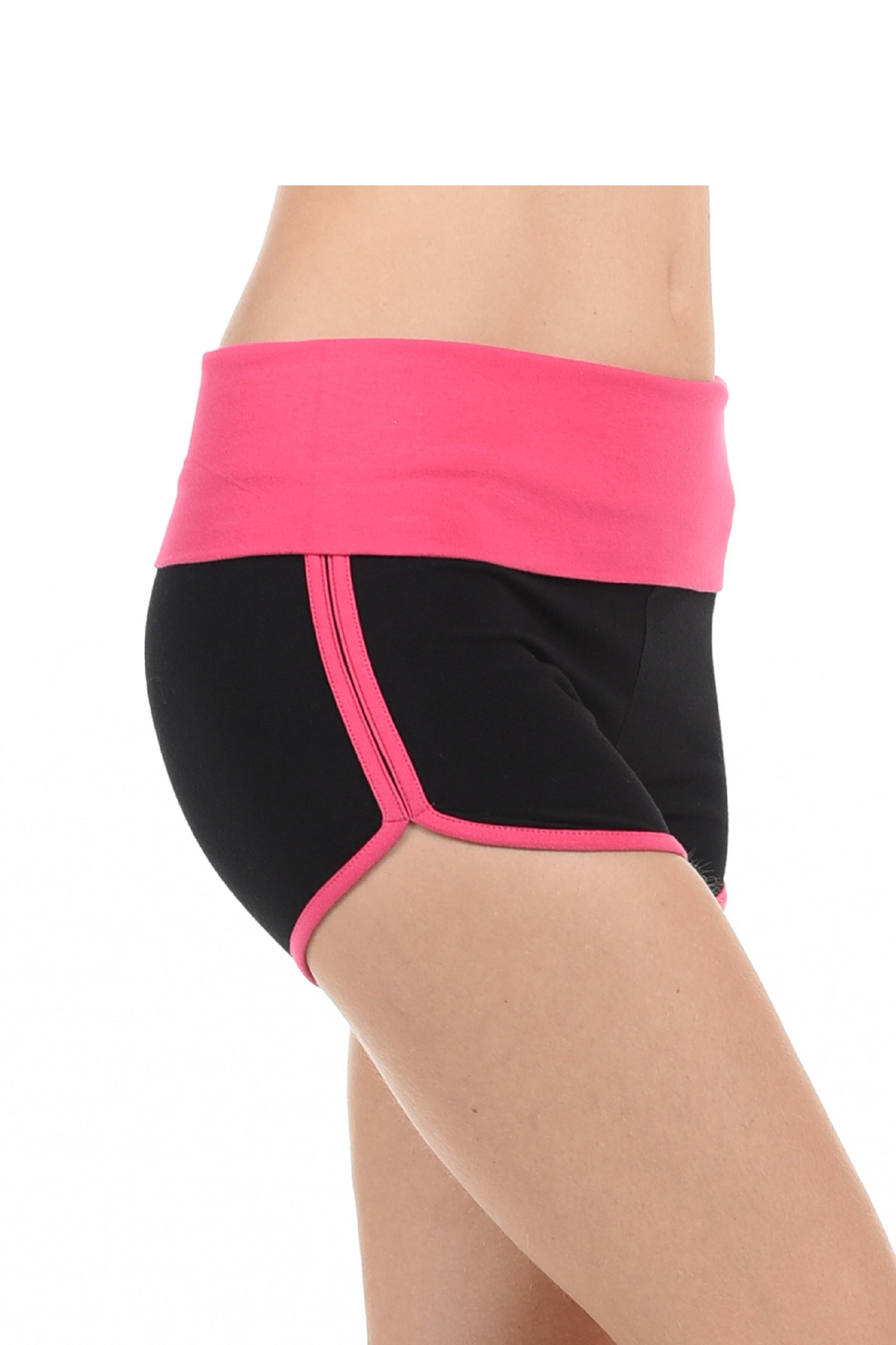 Athletic Curves Trimming Hot Yoga Shorts: Shorts for Juniors BLK/Pink L