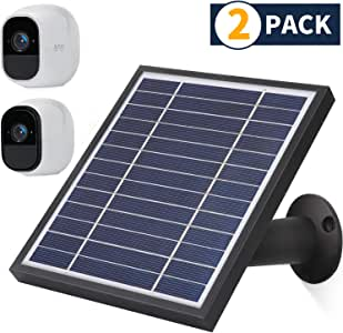 iTODOS Solar Panel Compatible with Arlo Pro and Arlo Pro 2, 11.8Ft Outdoor Power Charging Cable and Adjustable Mount,Switch Control (2 Pack, Black)