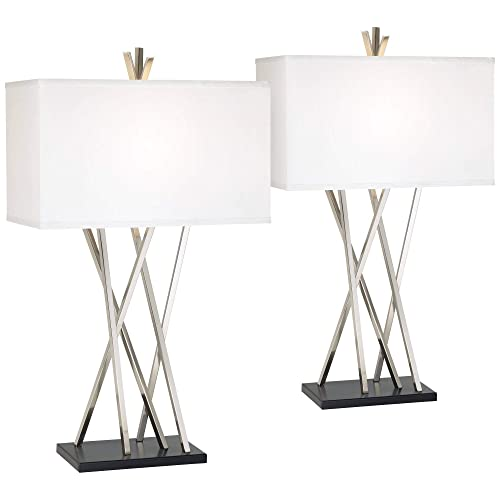 Asymmetry Modern Table Lamps Set of 2 Brushed Steel Black White Linen Rectangular Shade for Living Room Family Bedroom – Possini Euro Design