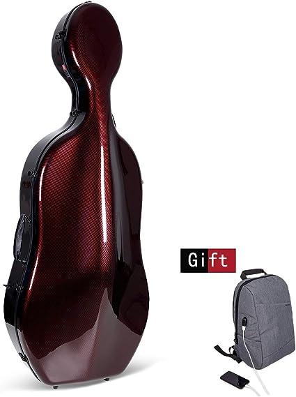 Crossrock Cello Funda para Montagnana y similares cestos de boca ancha, fibra de carbono, solo pesa 10 lb, rojo (CRF3000CEMRD): Amazon.es: Instrumentos musicales