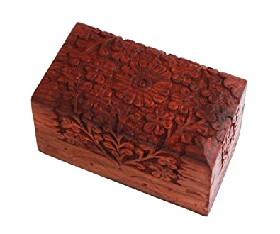 Buy craftgasmic wooden jewellery box brass n carving for women