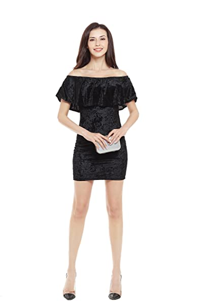 fda88416cd43 ZEAMO Women s Sexy Backless Ruffle Off Shoulder Bodycon Party A-Line Mini  Dress