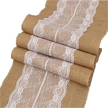 12 x 108 Recorte para la decoración de la boda del bebé nupcial pulgadas arpillera corredor de la tabla del cordón blanco del partido de ducha decoración ...
