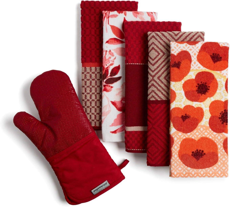 KitchenAid Print Kitchen Towel and Oven Mitt Set, Set of 6, Passion Red