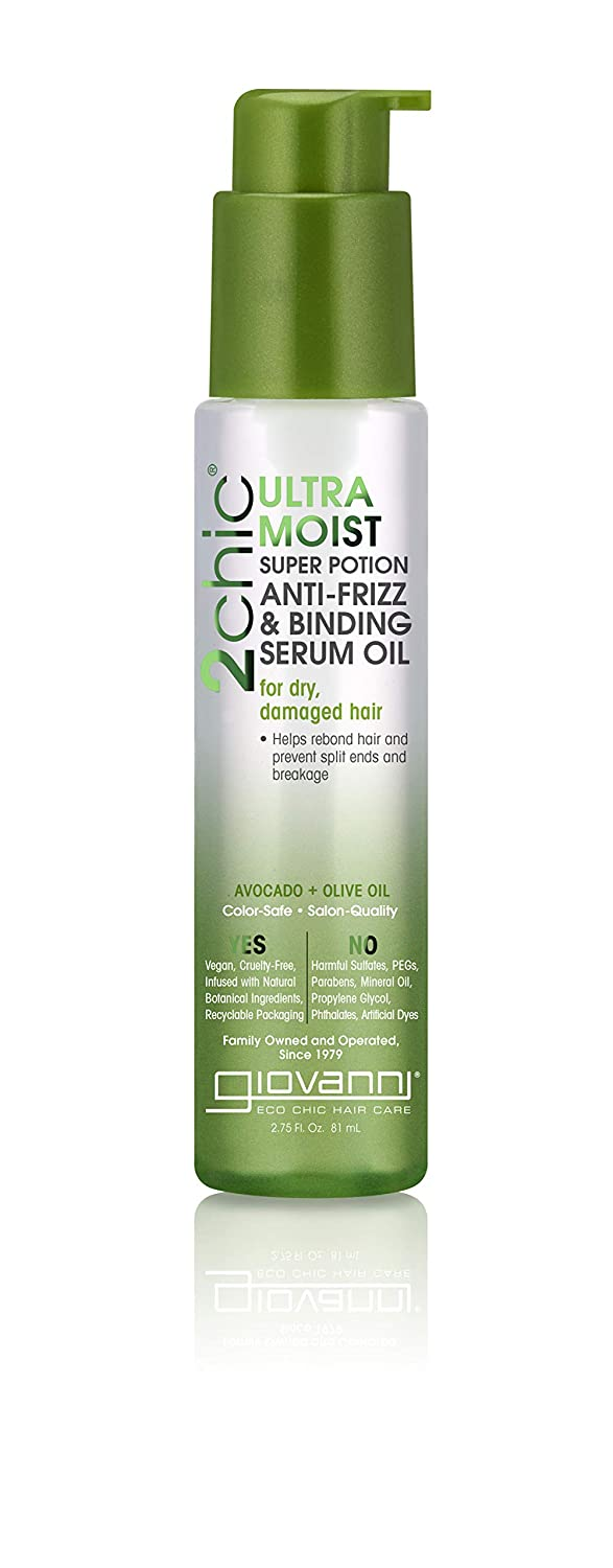 Giovanni Ultra-Moist Anti Frizz Serum - Leave In Ultra-Moist Hydrating Daily Formula with Avocado & Olive Oil 2.75 oz