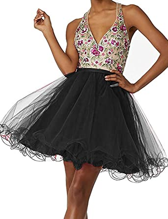 63a387d3028 BessDress V Neck Floral Embroidered Short Homecoming Dresses Tulle Party  Ball Gown BD375 at Amazon Women s Clothing store