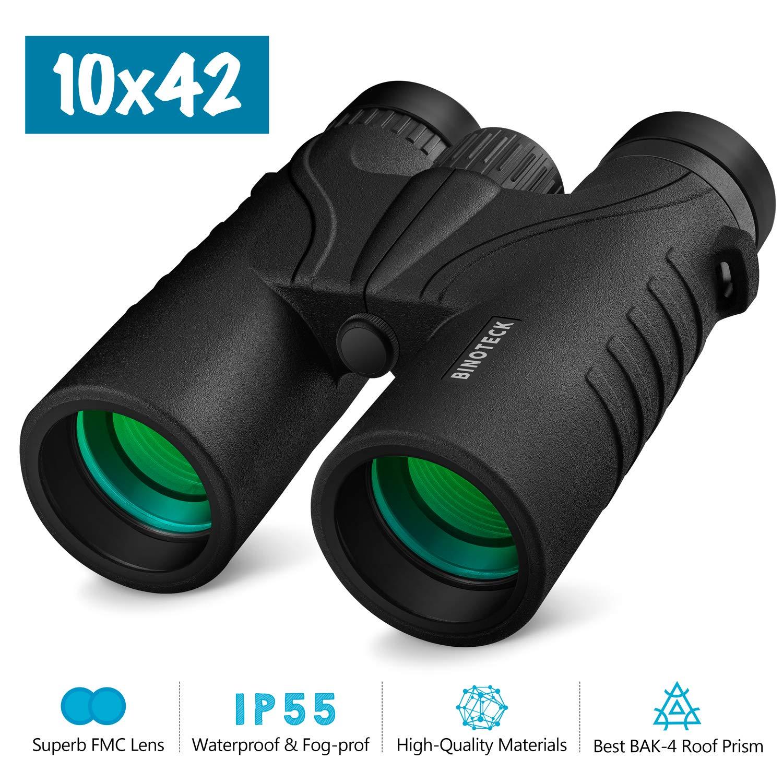 Binoteck 10×42 Binoculars for Adults – Professional HD Roof BAK4 Prism Lens Binoculars for Bird Watching, Hunting, Travel, Sports, Opera, Concert, with Carrying Bag 1.0 lbs