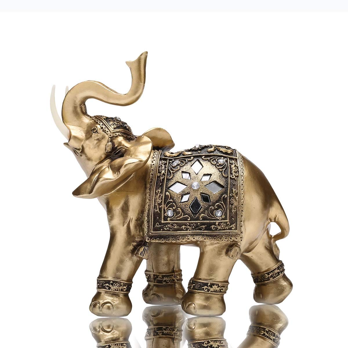 TOUCH MISS Golden Thai Elephant with Trunk Raised Collectible Figurines Large