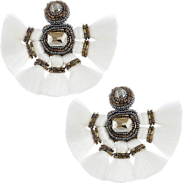 Udalyn 4 Pairs Tassel Earrings for Women Dangle Clip On Earrings Colorful Bohemian Tassel Earrings Statement Earrings Handmade Jewelry Gift Non Piercing Earrings for Sensitive Ears
