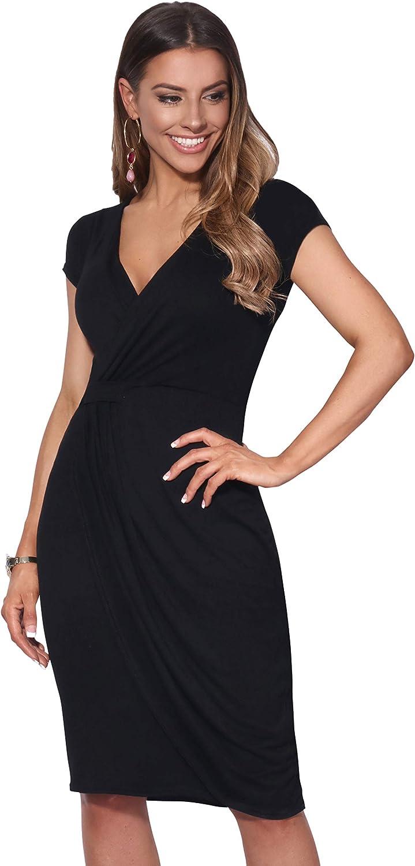 TALLA 40. KRISP Vestido Moda Mujer Fruncido Negro (6678) 40
