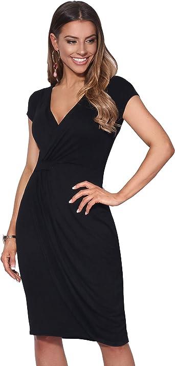 TALLA 48. KRISP Vestido Moda Mujer Fruncido Negro (6678) 48